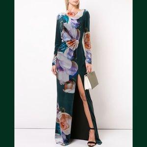 Black Halo Velvet Floral Slit Gown Size 4